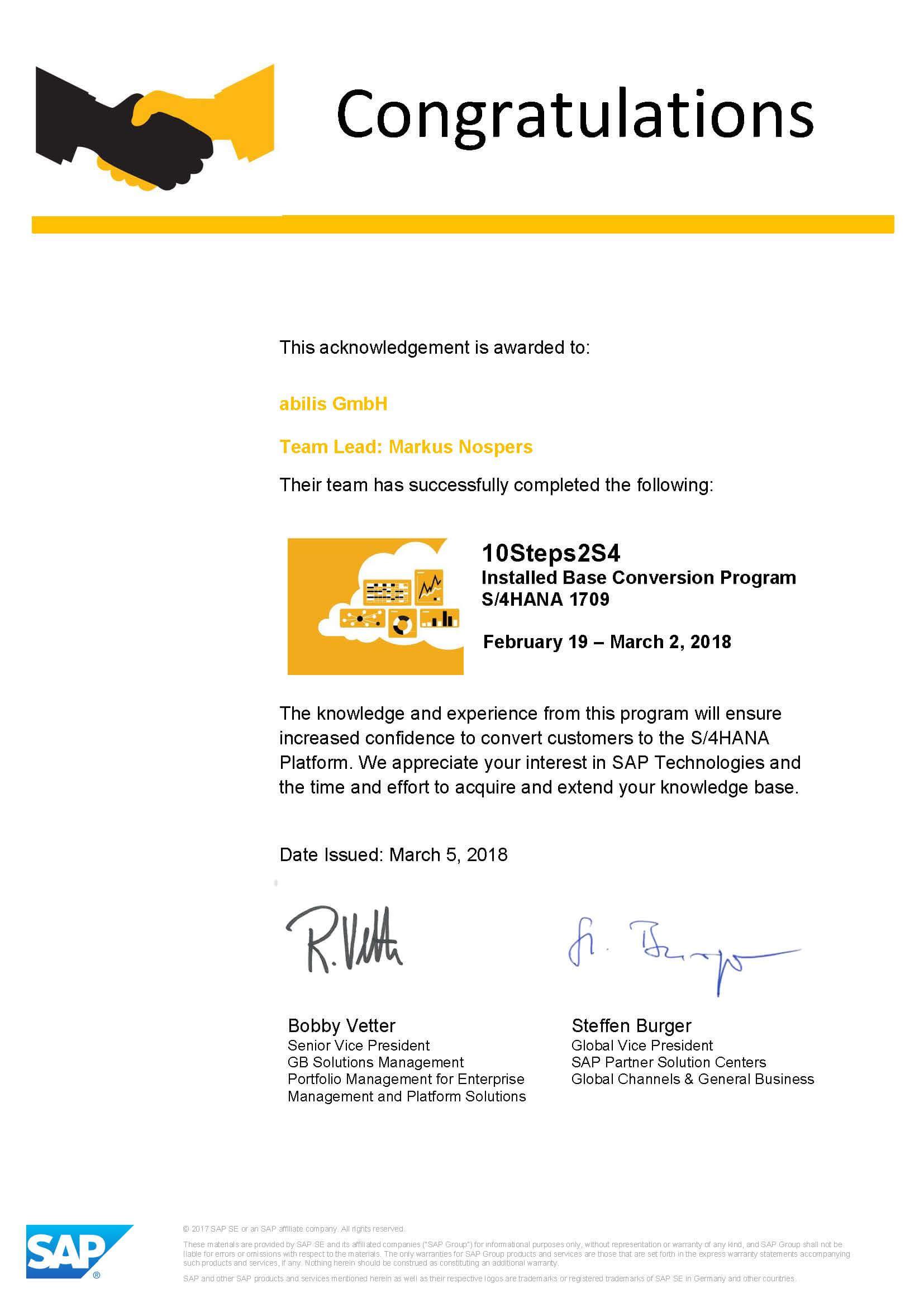 SAP HANA System-Konversion nach 10Steps2S4