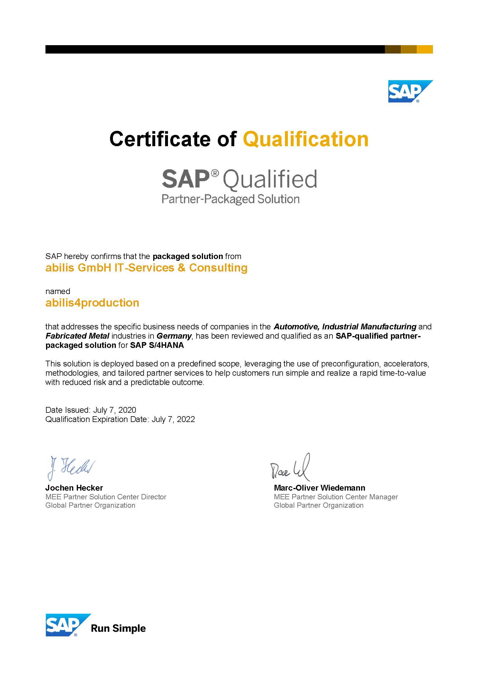 Zertifikat S/4HANA Branchenlösung abilis4production