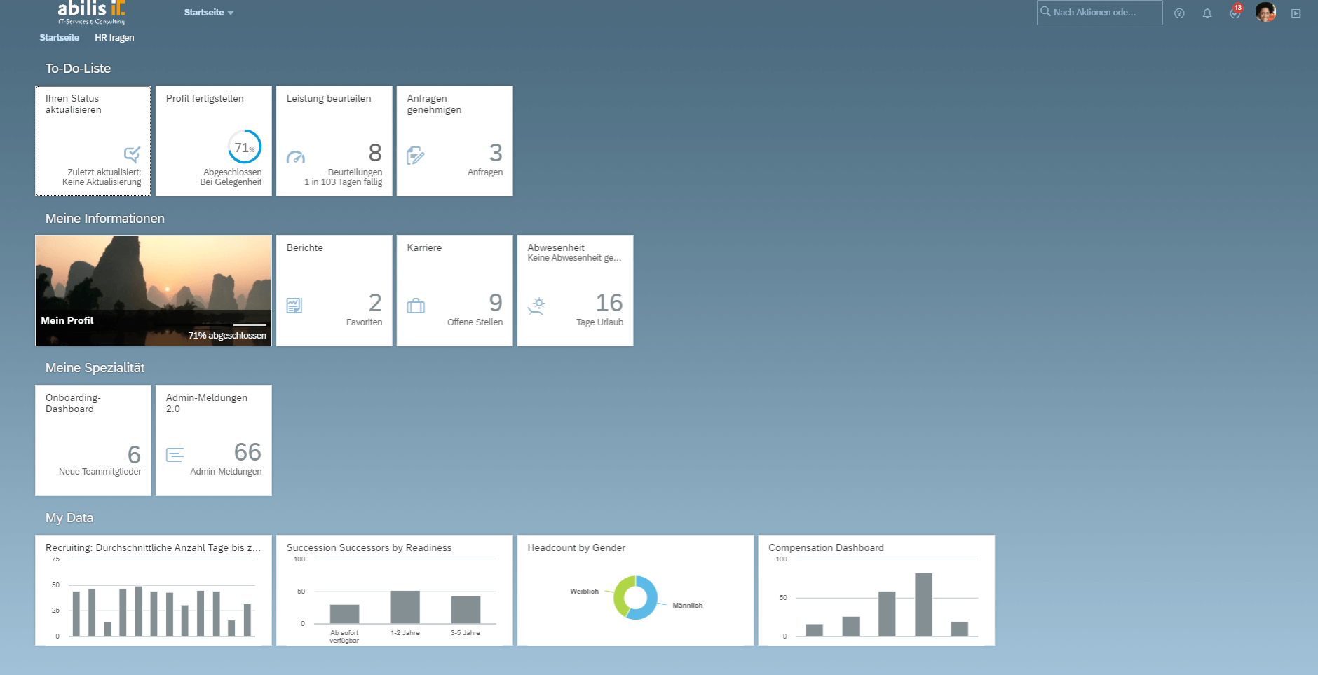 Oberfläche SAP SFSF