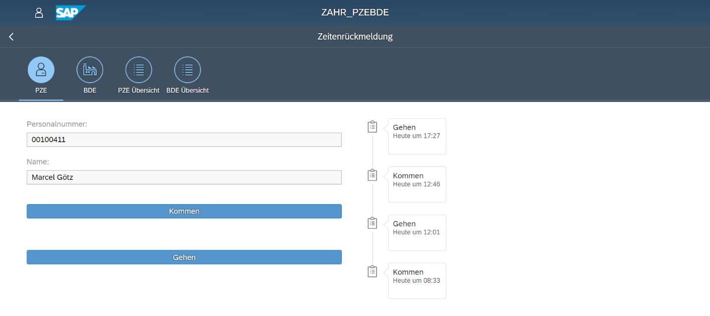 BDE / PZE App Fiori-Oberfläche